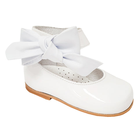 Andanines Patent Leather Ankle Strap Shoe White