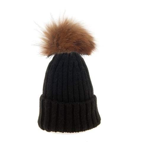 Bowtique London Neutral Pom Hat Black