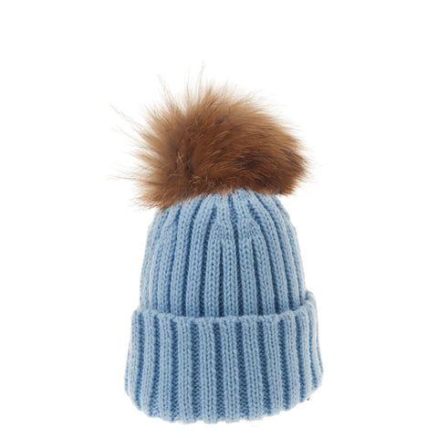 Bowtique London Neutral Pom Hat Blue