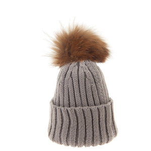 Bowtique London Neutral Pom Hat Light Grey