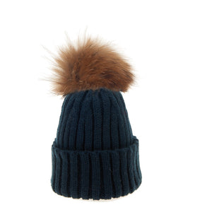 Bowtique London Neutral Pom Hat Navy