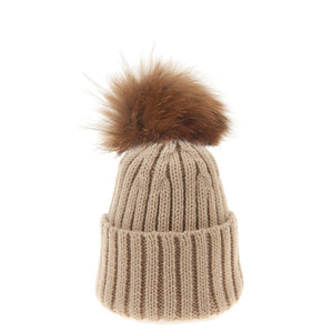 Bowtique London Neutral Pom Hat Sand