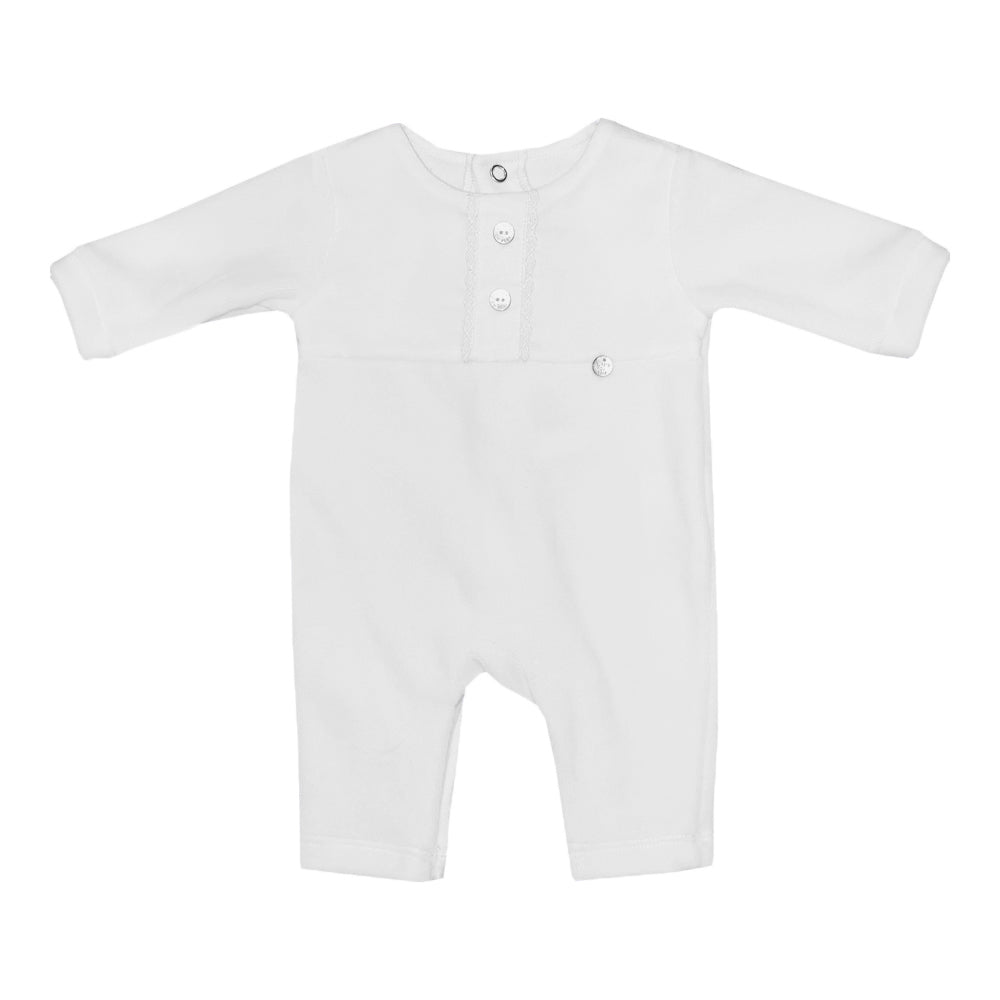 Purete Du Bebe Velour Two Button Footless Sleepsuit Grey