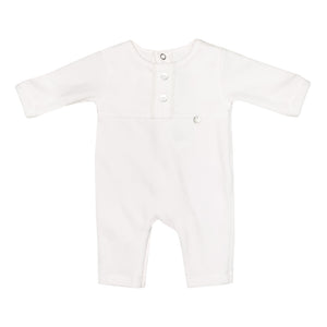 Purete Du Bebe Velour Two Button Footless Sleepsuit White