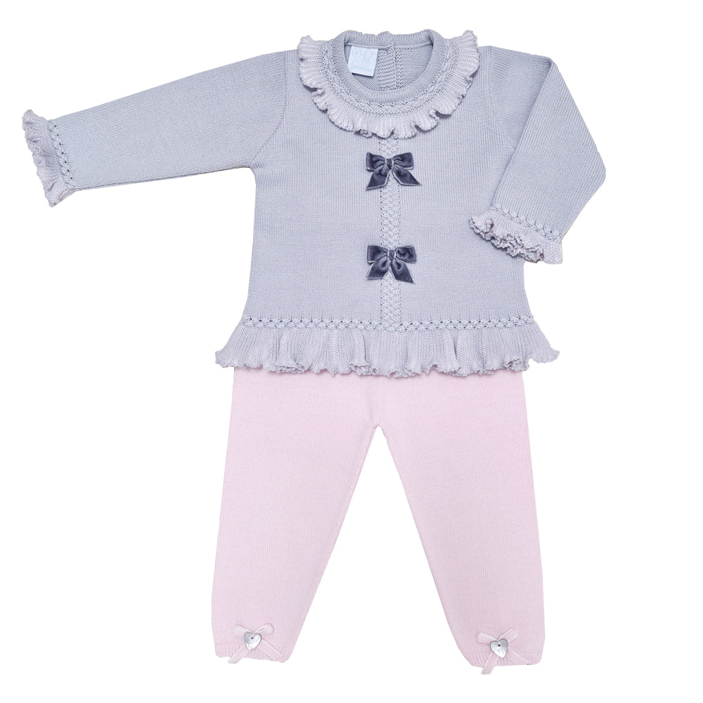 Granlei Girls Knitted Bow Detail Tracksuit Grey/Pink