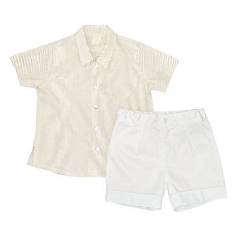Granlei Stripe Shirt and Shorts Yellow