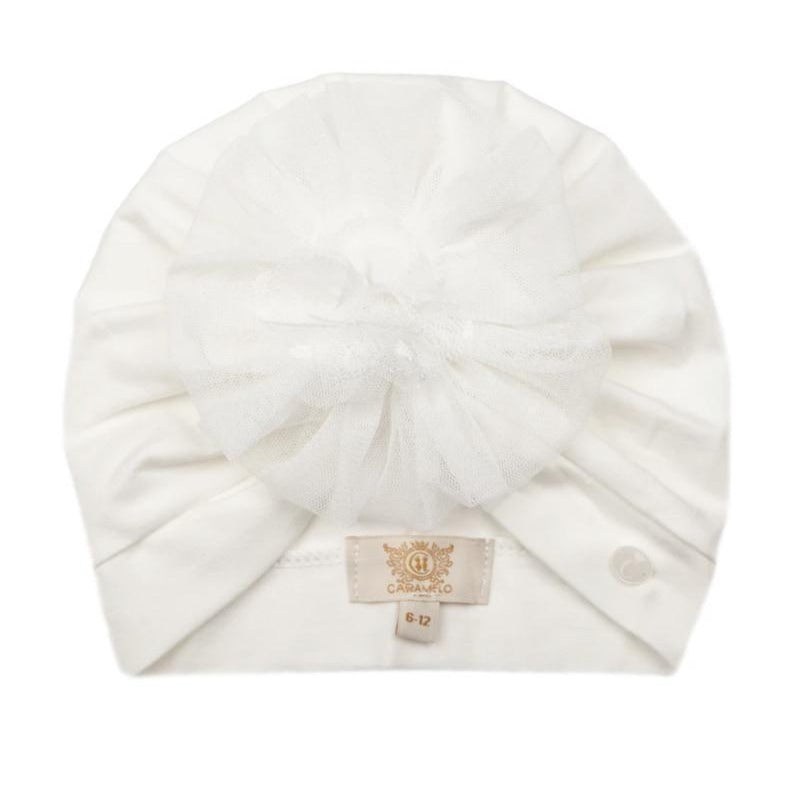 Caramelo Tulle Flower Turban Ivory