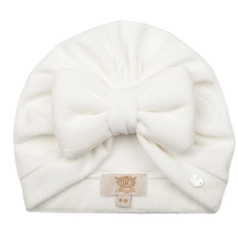 Caramelo Velour Padded Bow Turban Ivory