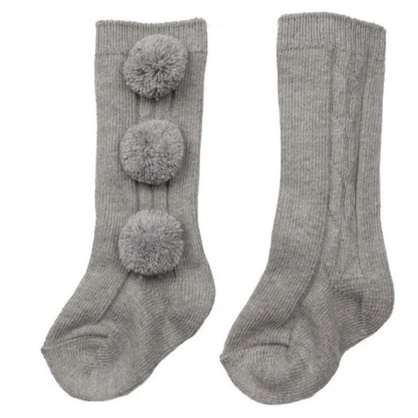 Caramelo Three Pom Pom Knee High Socks Grey