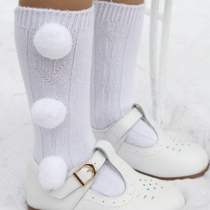 Caramelo Three Pom Pom Knee High Socks White