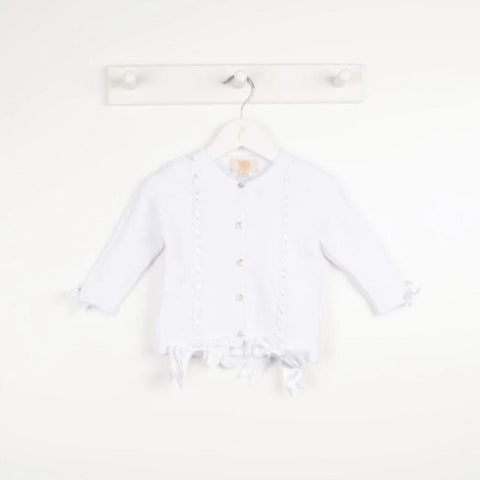 Caramelo Cabel Knit Bow Cardigan White