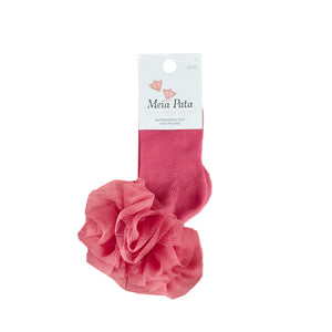 Meia Pata Ankle Tulle Socks Coral