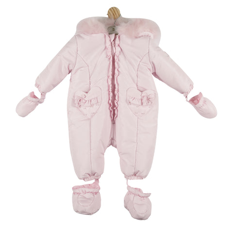 Mintini Heart Pocket Snowsuit Pink
