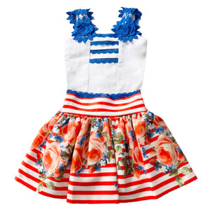 Nini Stripe and Rose Skirt Set