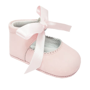 Pretty Original Ribbon Tie Leather Soft Sole Pink