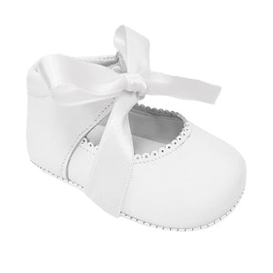 Pretty Original Ribbon Tie Leather Soft Sole White