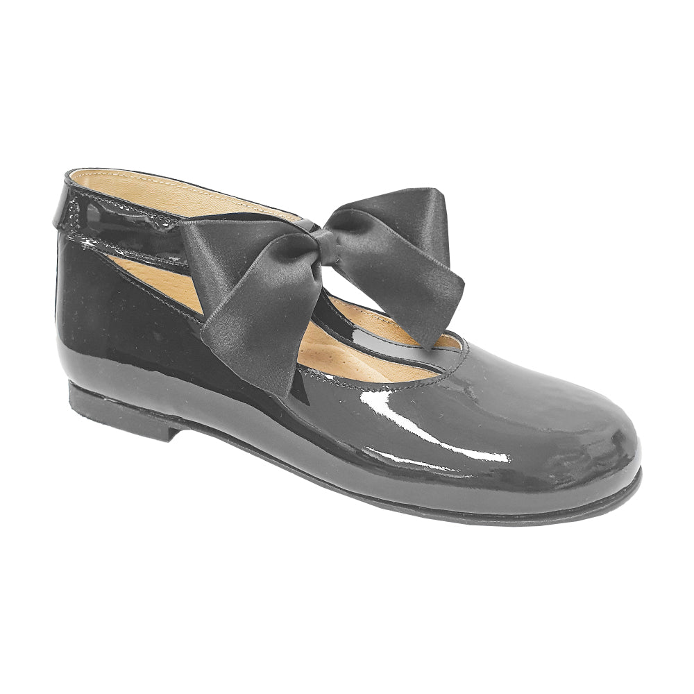 Pretty Originals Satin Bow T-bar Shoes Black