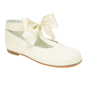 Pretty Originals Satin Bow T-bar Shoes Cream