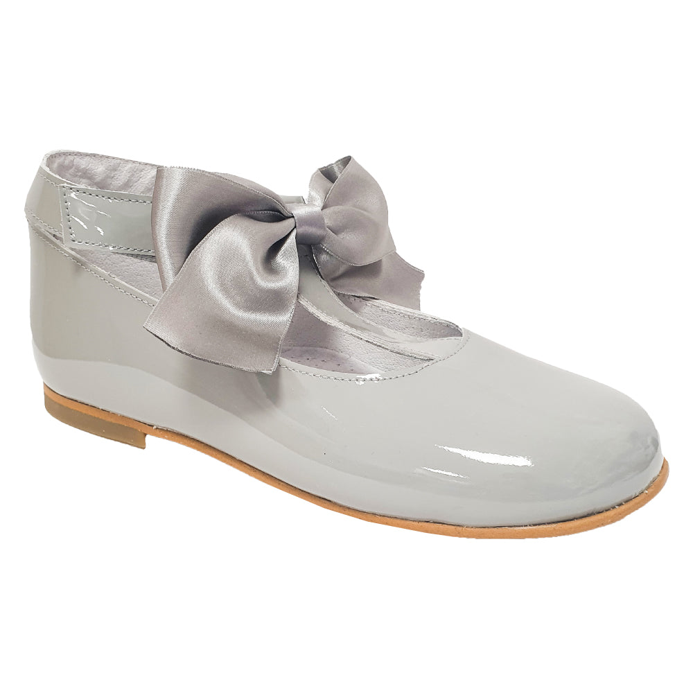 Pretty Originals Satin Bow T-bar Shoes Grey