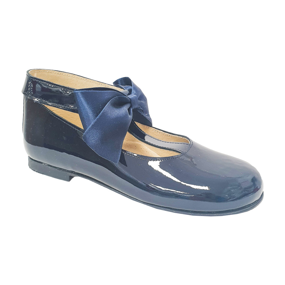 Pretty Originals Satin Bow T-bar Shoes Navy