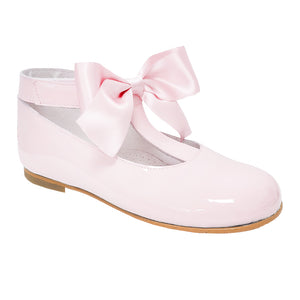 Pretty Originals Satin Bow T-bar Shoes Pale Pink
