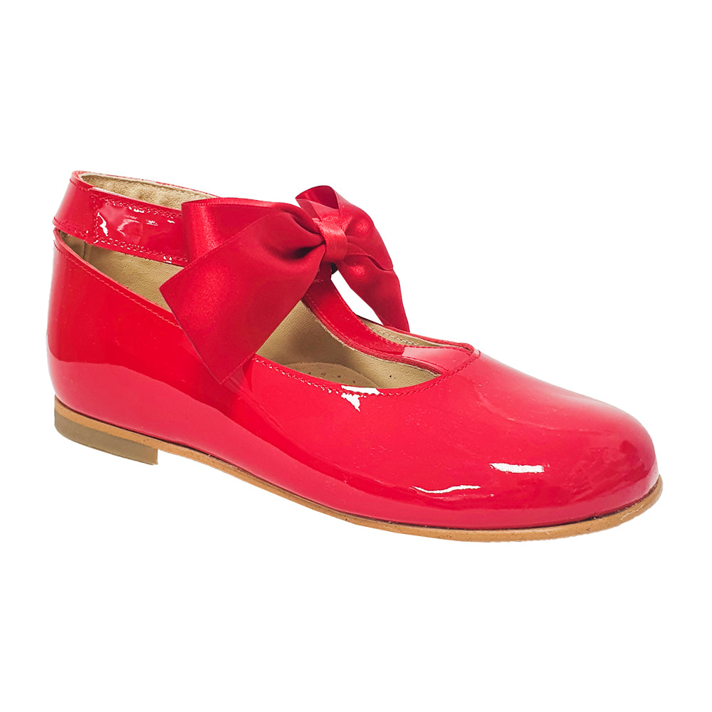 Pretty Originals Satin Bow T-bar Shoes Red