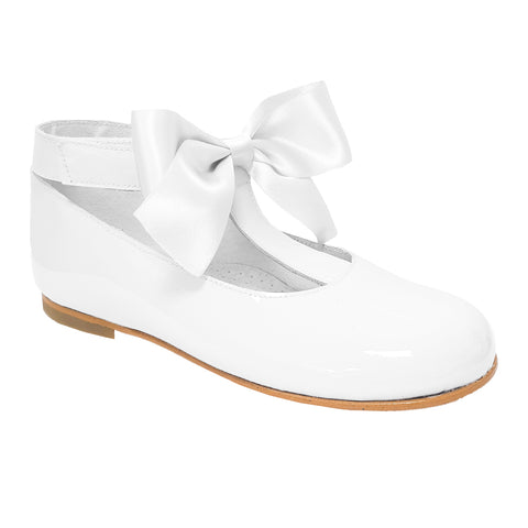 Pretty Originals Satin Bow T-bar Shoes White