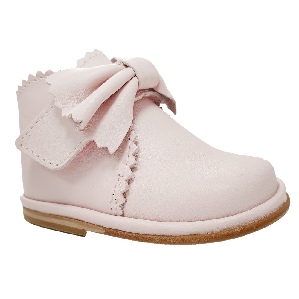 Borboleta Sharon Leather Bow Boots Pale Pink