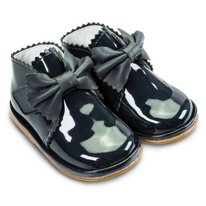 Borboleta Sharon Patent Leather Bow Boots Navy