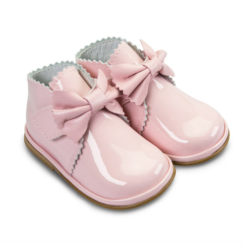 Borboleta Sharon Patent Leather Bow Boots Pink