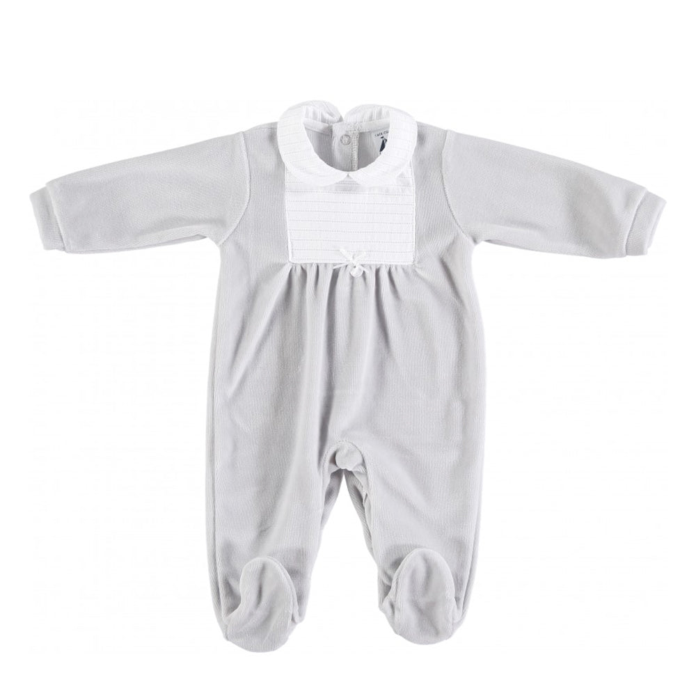 Babidu Stripe Bib and Collar Detail Sleepsuit Grey