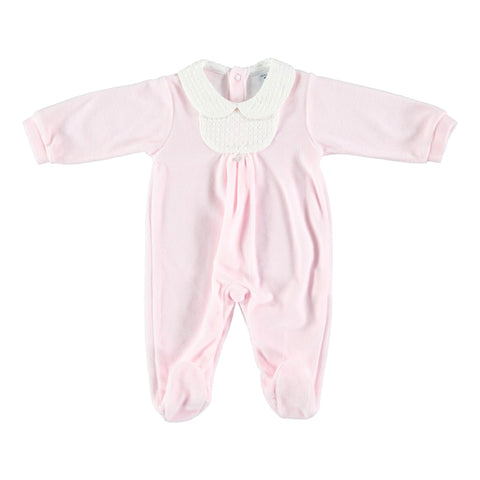 Babidu Textured Collar Sleepsuit Pink