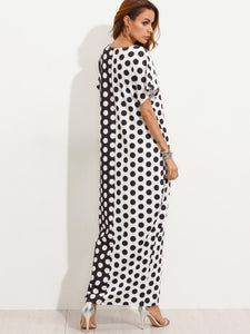 Contrast Polka Dot Print Pockets Maxi Tee Dress
