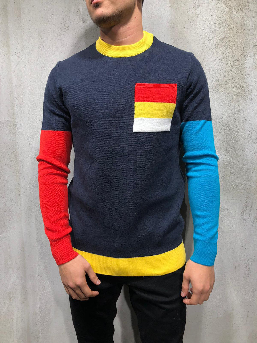Color Block Knitwear Sweatshirt 4008