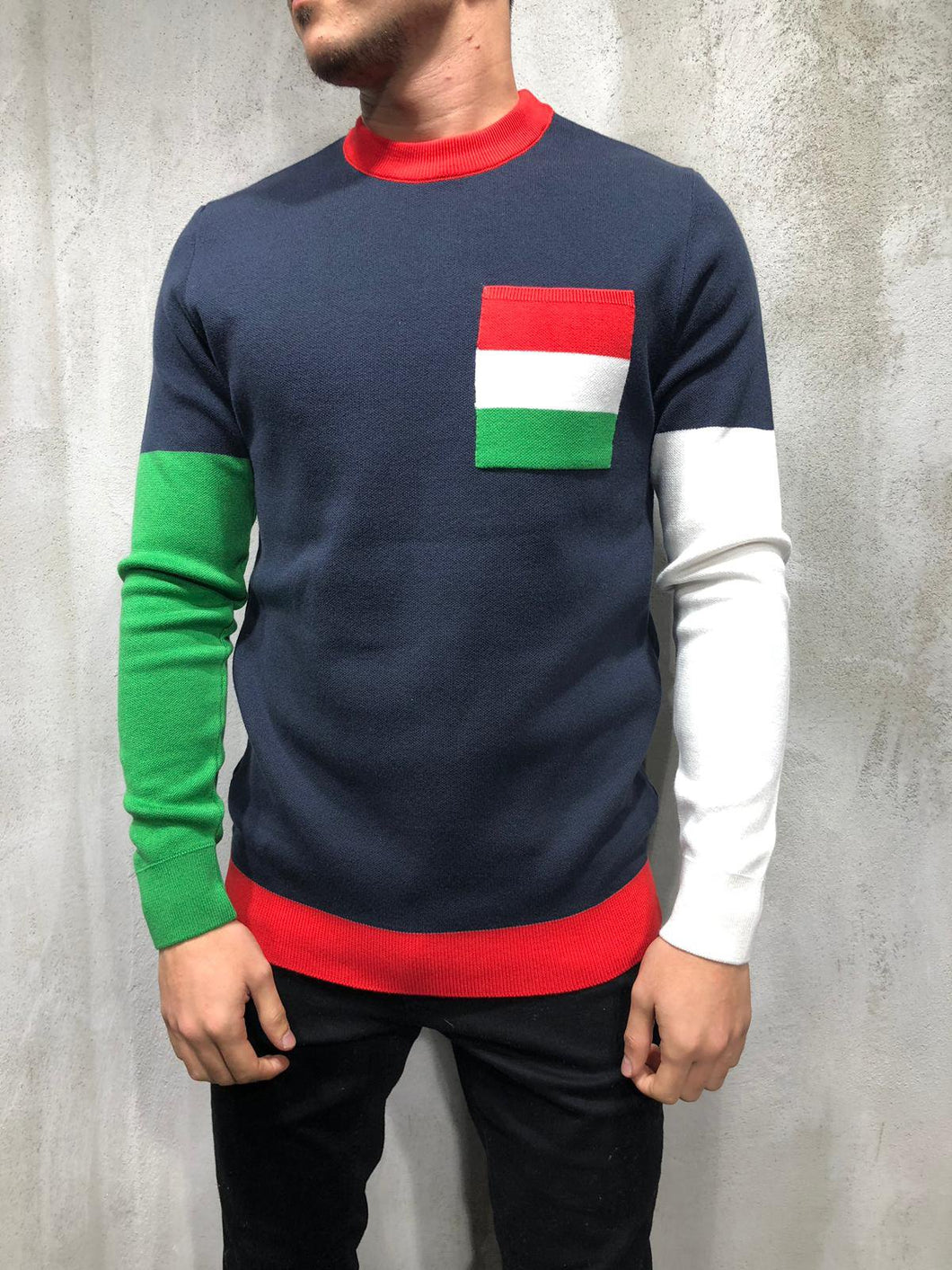 Color Block Knitwear Sweatshirt 4010