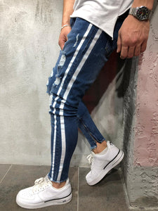 Blue Jeans with Double White Side Stripes 4028