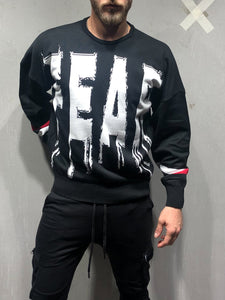 Black Oversized Sweatshirt Fear Print 4098