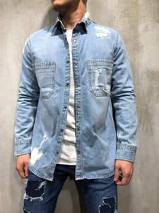 Ripped Denim Shirt Light Wash Blue 4152