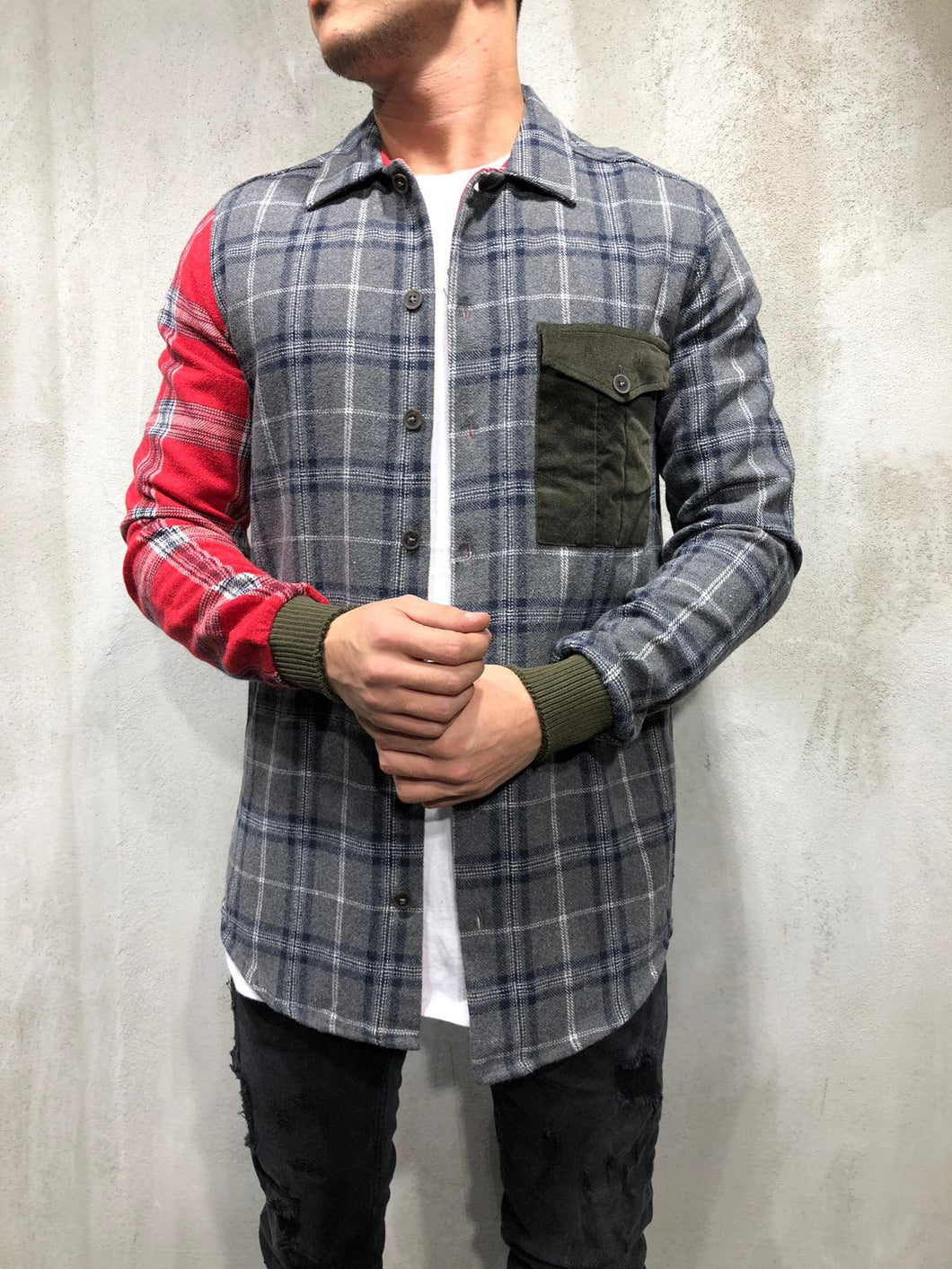 Check Shirt Patched Sleeve & Pocket 4158