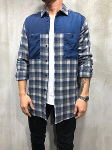 Check Shirt Blue Patches 4161