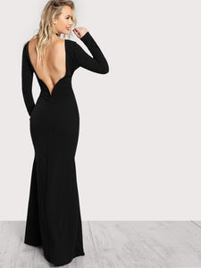 Long Sleeve Open Back Bodycon Maxi Dress