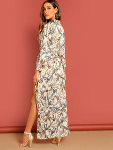 Chain Print Twist Front Wrap Split Maxi Dress