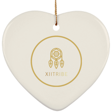 White XIItribe Ceramic Heart Ornament