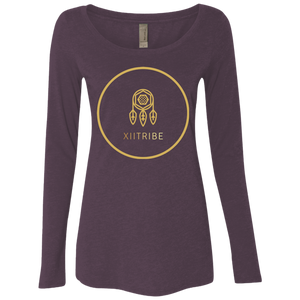 Purple XIItribe Ladies' Triblend LS Scoop