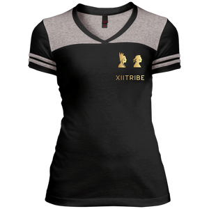 Red XIItribe Ladie's V-Neck T-Shirt