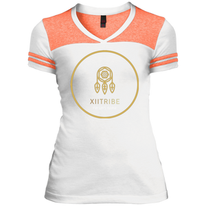 White/Orange XIItribe Ladie's V-Neck T-Shirt
