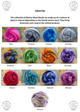 Load image into Gallery viewer, Large Merino Wool Blanket - Colour Pop Blends - Stockinette - No Needles Needed Chunky Knits