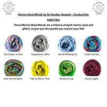 Load image into Gallery viewer, Medium Merino Wool Blanket - Fairytale Blends - Stockinette - No Needles Needed Chunky Knits