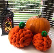 Load image into Gallery viewer, Chunky Knit Pumpkins - Set of 2 - No Needles Needed Chunky Knits