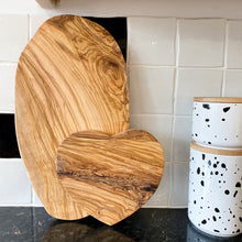 Load image into Gallery viewer, Heart Shaped Olive Wood Board - No Needles Needed Chunky Knits